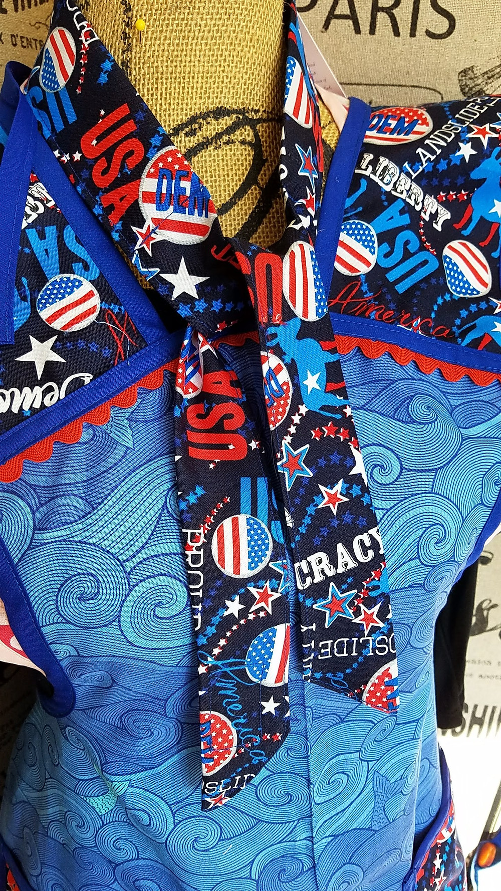Patriotic cooling neck scarf and apron