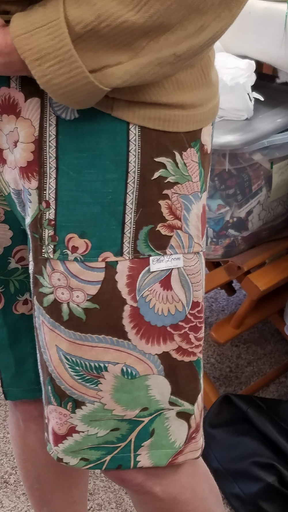 turquoise and brown shorts
