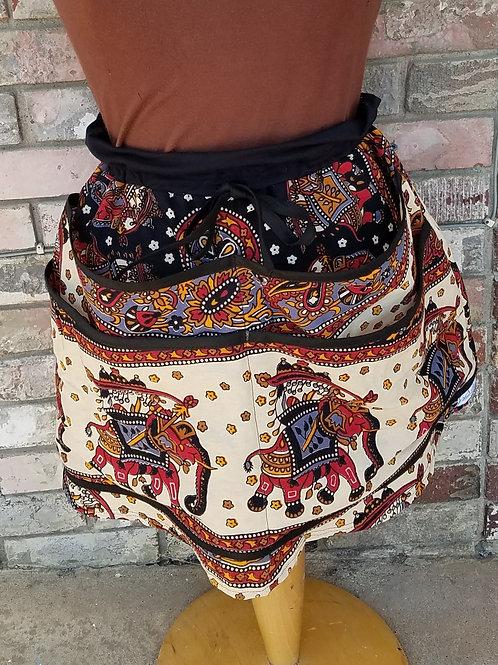 festival pocket skirt with elephants on pockets