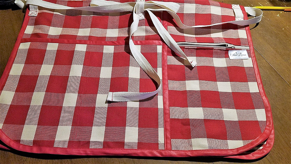 Red check apron zippered pocket