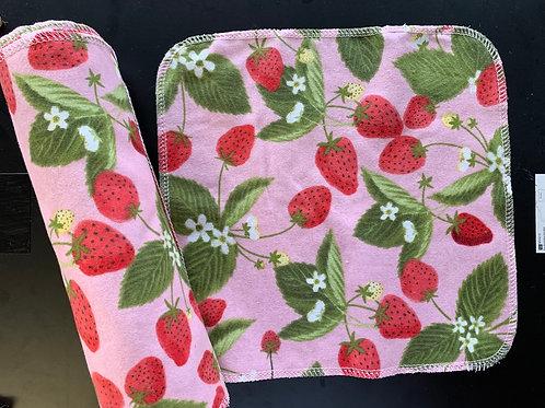 Reusable UnPaper Towels - strawberry vines