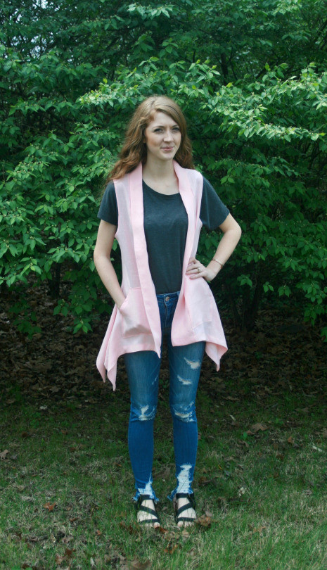 Pink Linen Vest