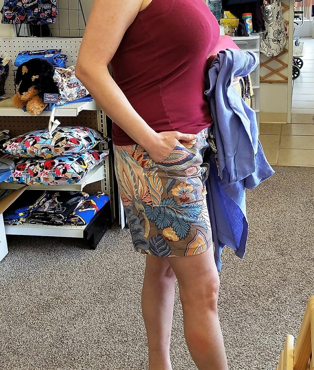 Brown and blue drawstring shorts