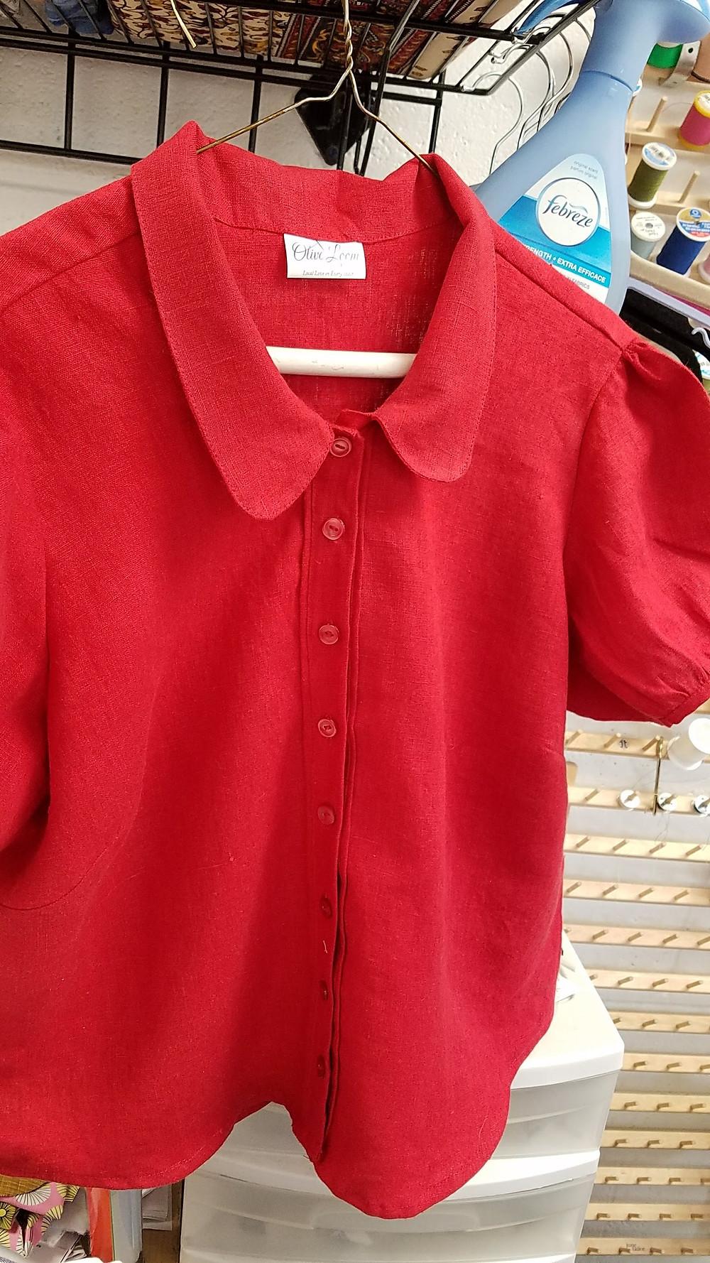 Custom red linen blouse