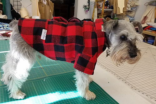 red plaid flannel heated dog shirt with pockets