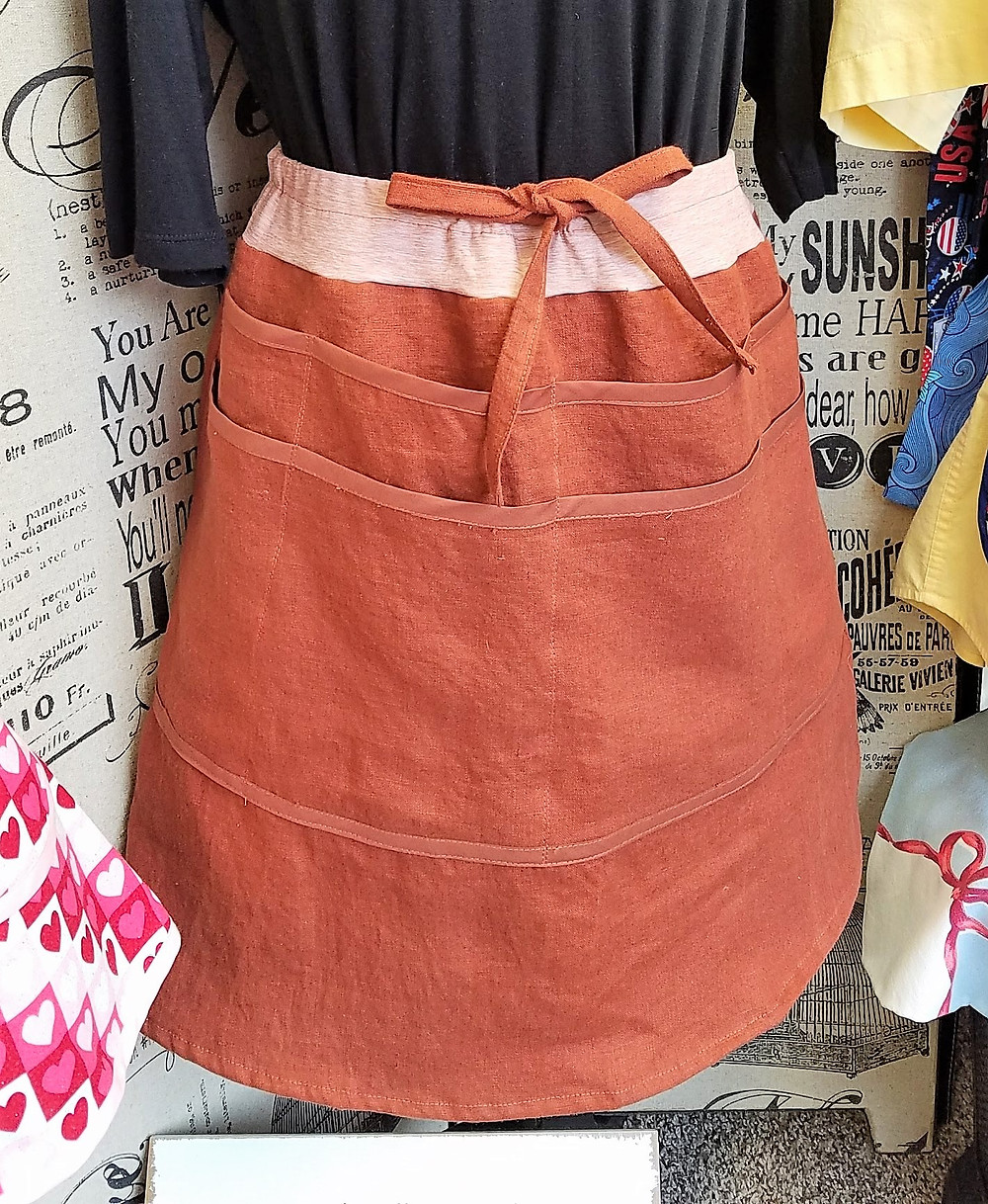 rust linen 8 pocket skirt with yoga waistband