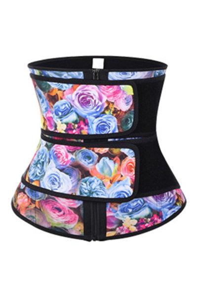 Floral Print Double Strap Zip Waist Trainer