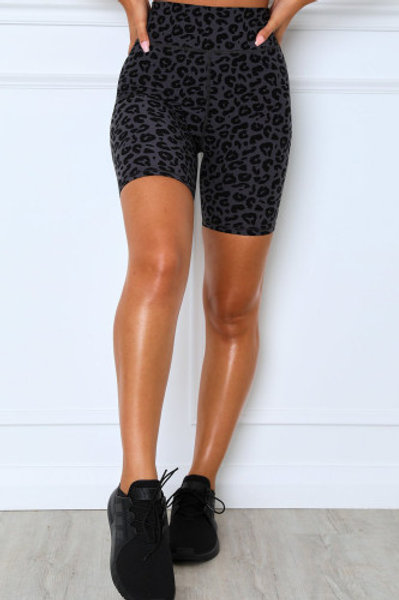 Leopard Charcoal Shorts