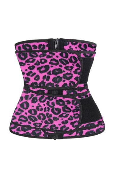 Rose Leopard Double Strap Zip Waist Trainer