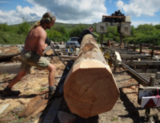 Sawmilling local timber