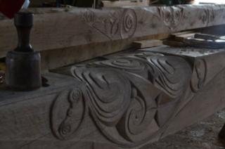 Celtic motif on roof beams