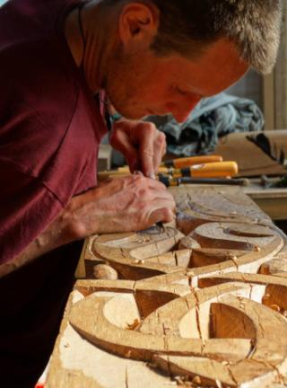 Celtic motifs on oak beams