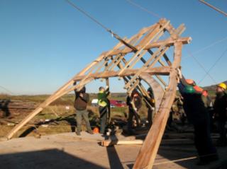 Raising the cruck oak frames