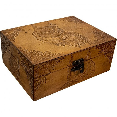 Leather Wooden Box (Owl)