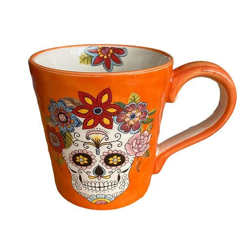 Day Of Dead Sugar Skull Mug (Orange)