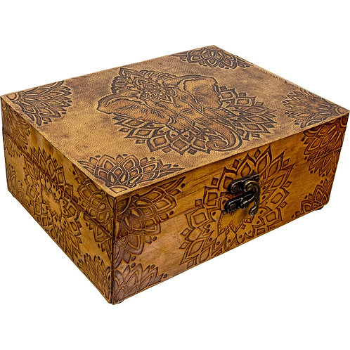 Leather Wooden Box (Elephant)
