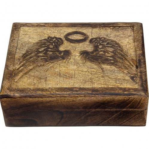 Carved Wooden Box (Angel Wings)