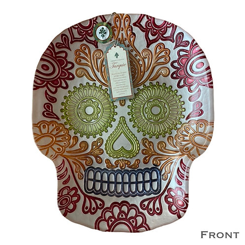 Day of the Dead Skull Glass Plate (Lg)
