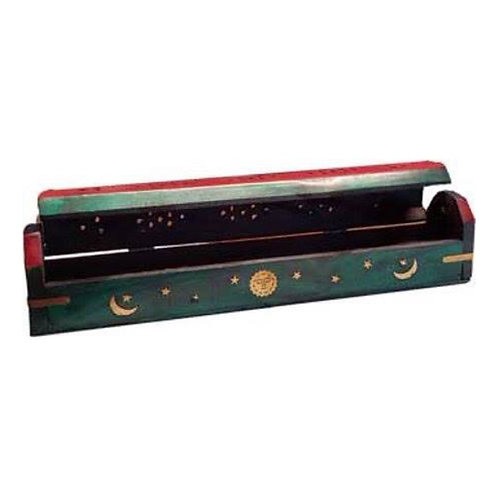Sun & Moon Wooden Incense Box/Burner