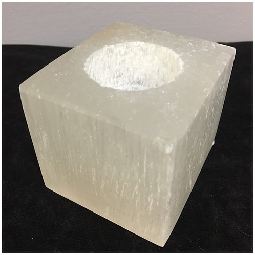 Selenite Cube Tealight Candle Holders