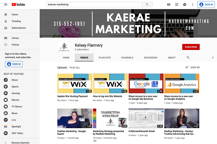 KaeRae Marketing YouTube Channel