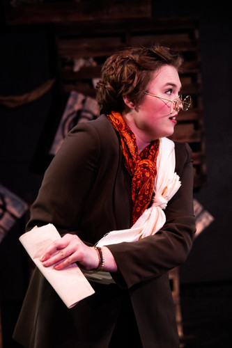 Savannah Lloyd as Emma Goldman in Assassins at The Secret Theatre