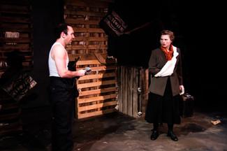 Savannah Lloyd as Emma Goldman in Assassins at The Secret Theatre / Credit: Carrington Spires Photography