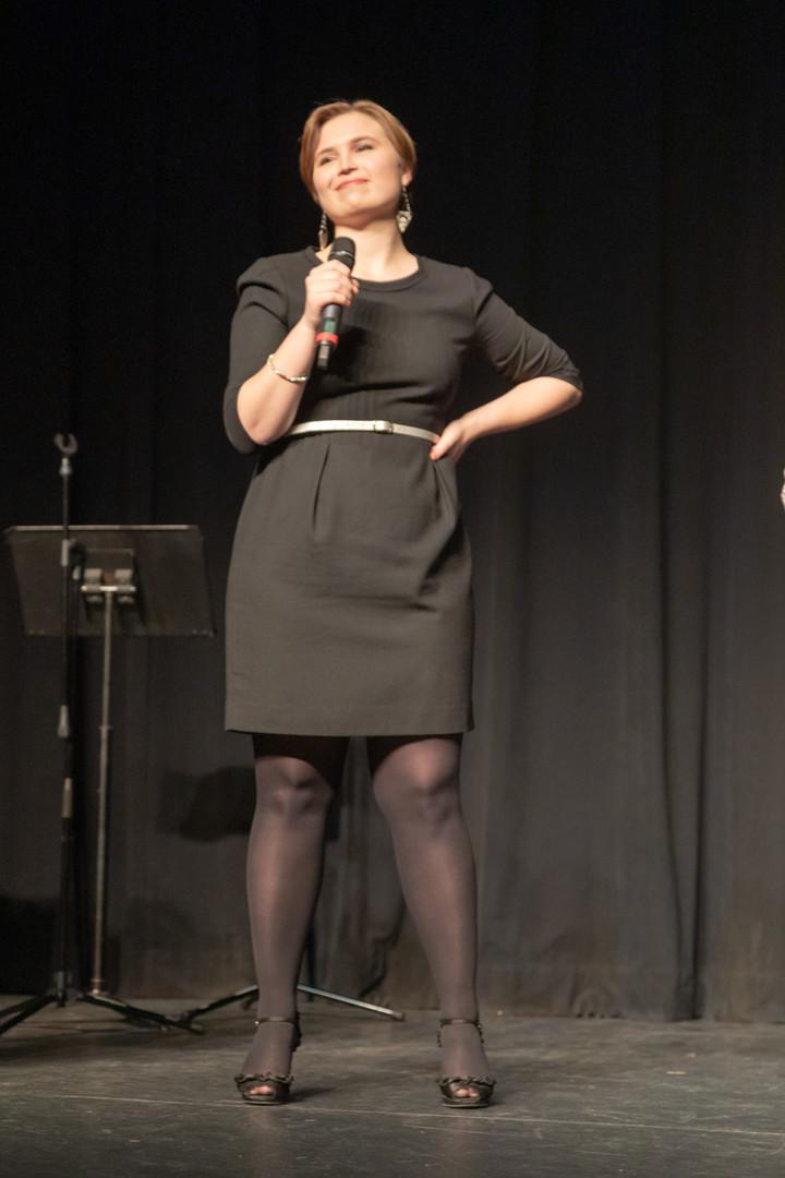 Savannah Lloyd singing in Pioneer Productions Company In These Shoes Gala. Credit: PenguinMoonStudio