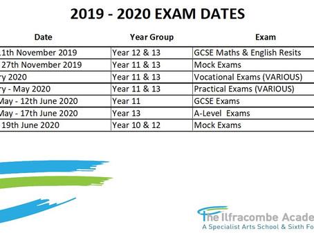 Mock Exam Dates 2019/2020