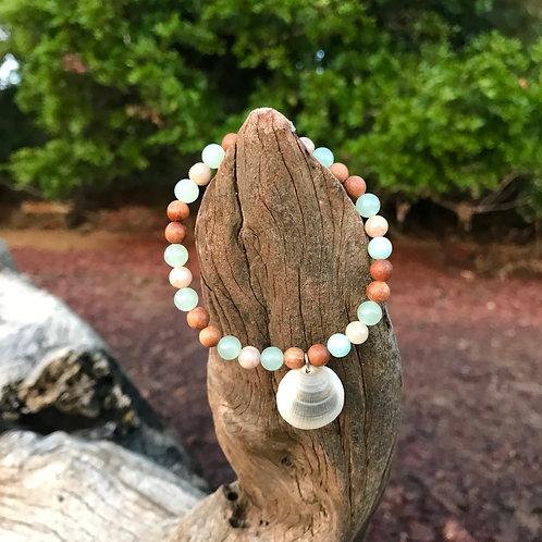 Sea Shell, Green Jade, Sunstone and Sandalwood Intention Bracelet
