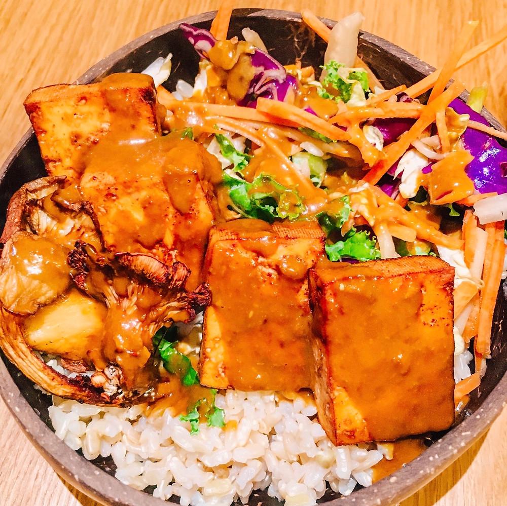 Plant based Vegan Turmeric Infused Tofu & Oyster Mushroom Goodness Bowl