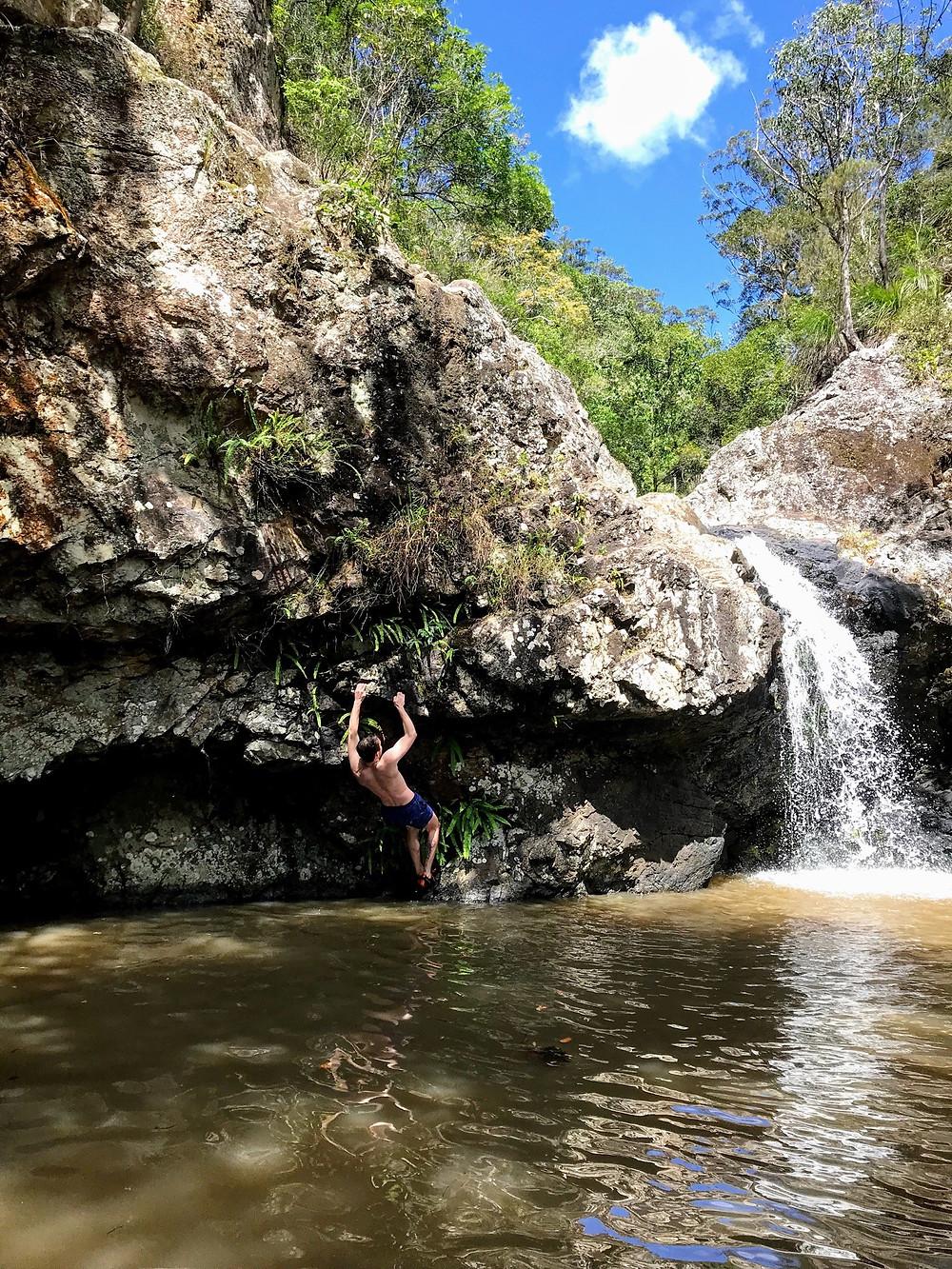 Rock Climbing boulder route at Kondalilla Falls