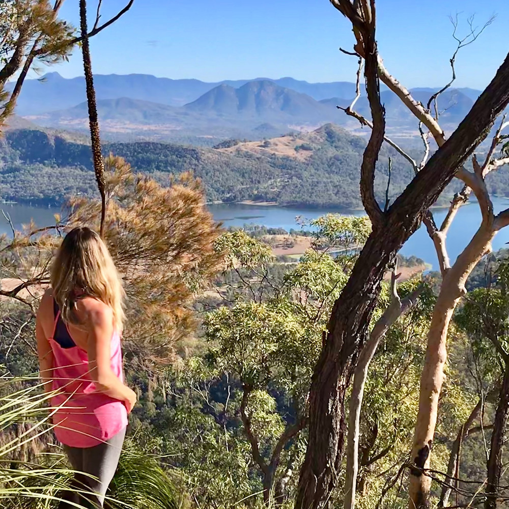 Enjoying the view of Lake Maroon from Mount Mays first Peak. Mount May Hiking Trail