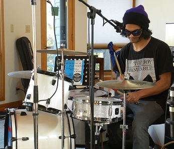 Orion Faruque drumming at Orchard Hill Studios