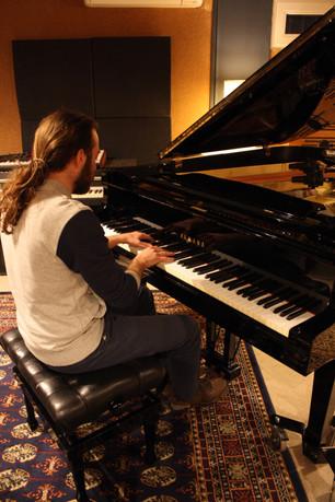 Studio recording of my solo piano piece 'In Love' (photo credits_Marios Takoushis)