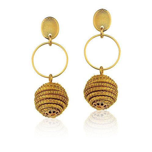 Golden Grass Ball Earrings