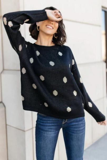 Polka Dot & Knit Sweater