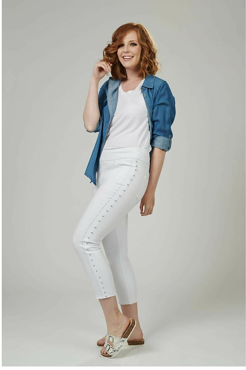 GG Side Stud White Jeans