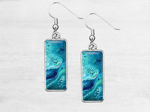 Beach Blossom, Rectangle Earrings
