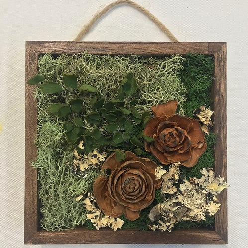 Mini Moss Art with Cedar Roses