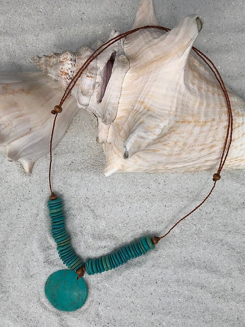 Coconut Necklace, Circle Pendant