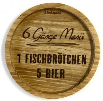Holzuntersetzer 6 Gänge Menü