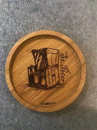Holzuntersetzer Strandkorb