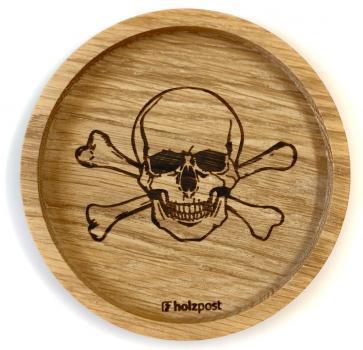 Holzuntersetzer Totenkopf