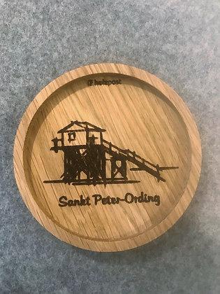 Holzuntersetzer Pfahlbau