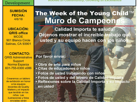 Week of the Young Child:  Quality Matters wants to celebrate the ECE champions who support our young