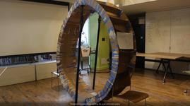 "Cardboard prototype of the ""hamster wheel"""