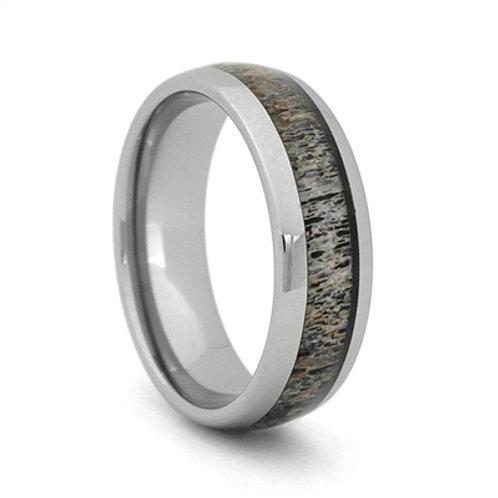 Men's Tungsten Carbide Wedding Band with Antler Inlay