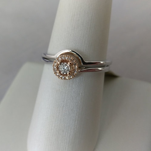 10k White & Rose Gold 2 Piece Engagement Set