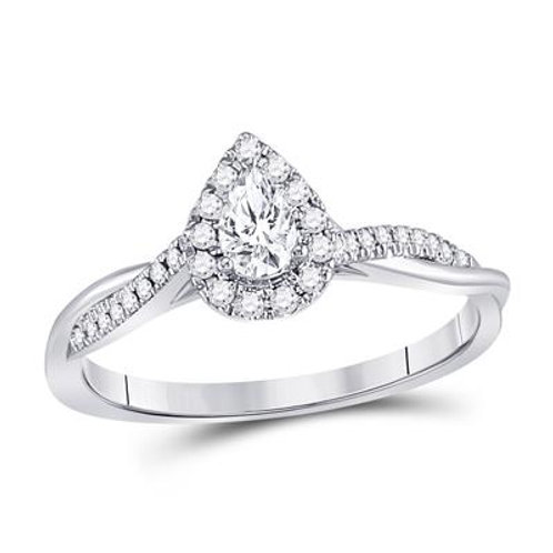 14k White Gold 0.33ct Pear Shaped Halo Engagement Ring